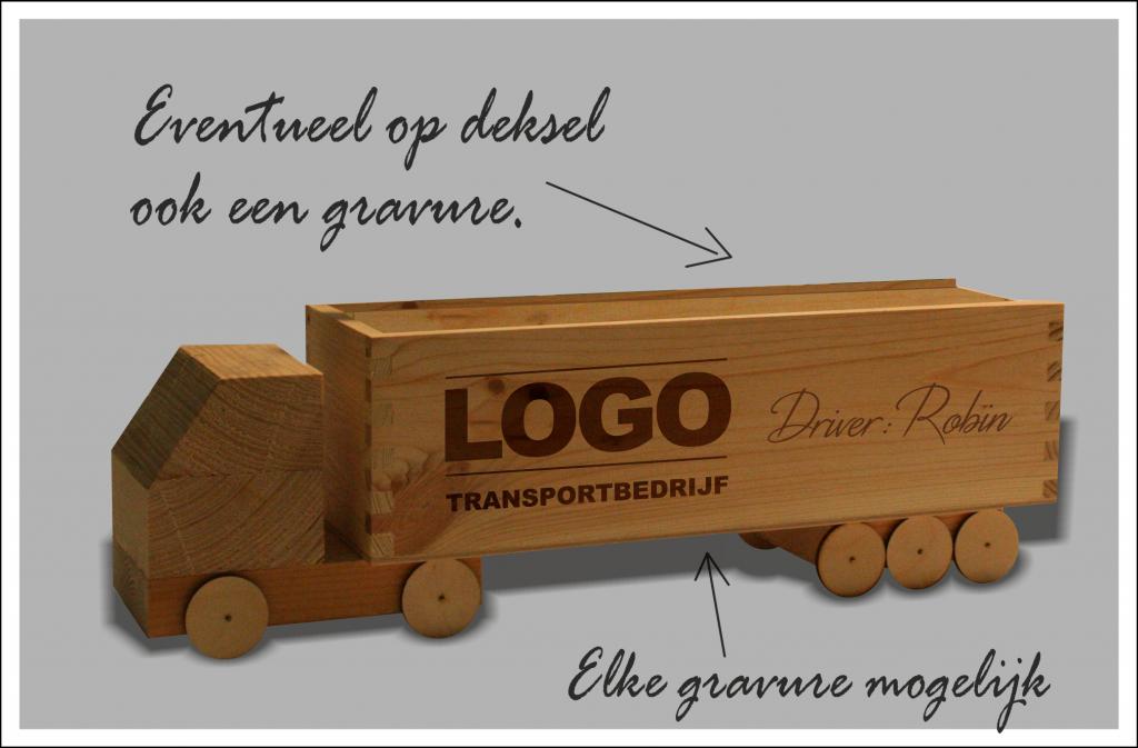 houten biet truck met naam en logo